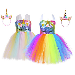 cheap Movie & TV Theme Costumes-Princess Unicorn Tutu Flower Girl Dress Girls' Movie Cosplay A-Line Slip White / Blue Dress Headwear Christmas Halloween Children's Day Polyester