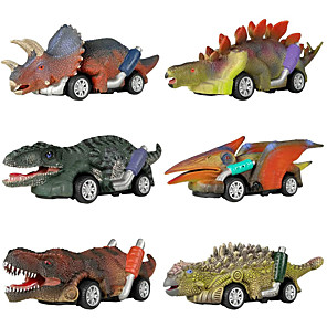 cheap Toy Cars-Vehicle Playset Pull Back Car / Inertia Car Jurassic Dinosaur Tyrannosaurus Tyrannosaurus Rex Cute Creative Cool PVC (Polyvinylchlorid) Plastic Mini Car Vehicles Toys for Party Favor or Kids Birthday