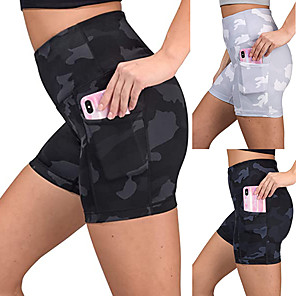 cheap Exercise, Fitness & Yoga Clothing-Women's High Waist Running Tight Shorts Compression Shorts Athletic Bottoms with Phone Pocket Fitness Gym Workout Running Active Training Breathable Quick Dry Power Flex Sport Black Dark Blue Gray