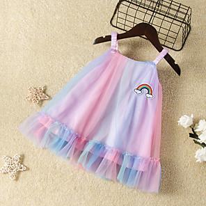 cheap Kids Collection Under $8.99-Kids Girls' Active Cute Dusty Rose Dusty Blue Rainbow Mesh Sleeveless Knee-length Dress Rainbow
