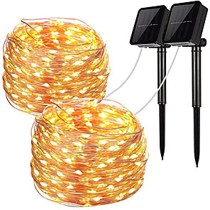 cheap LED Strip Lights-2pcs LED Solar Outdoor Lights Garden String Lights 100 LEDs Fairy Holiday Christmas Party Garland Solar Garden Waterproof 12m