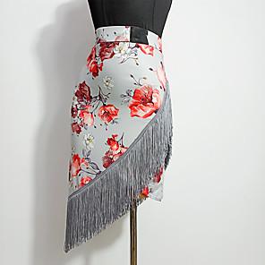 cheap Latin Dancewear-Latin Dance Skirts Tassel Pattern / Print Split Joint Women's Training Performance Milk Fiber Ice Silk