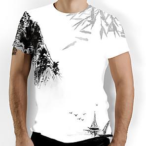 cheap Latin Dancewear-Men's T-shirt Graphic Print Tops Basic Chinoiserie Round Neck White / Short Sleeve