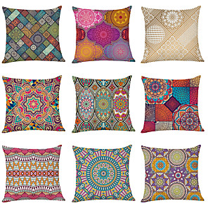 cheap Throw Pillow Covers-9 pcs Linen Pillow Cover, Datura Flowers Geometric Modern Square Traditional Classic