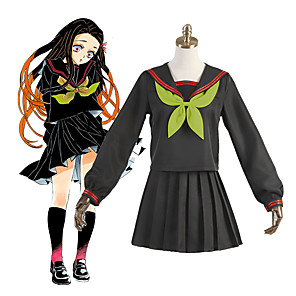 cheap Anime Costumes-Inspired by Demon Slayer: Kimetsu no Yaiba Kamado Nezuko Anime Cosplay Costumes Japanese Cosplay Suits School Uniforms Socks Tie Costume For Women's Girls'