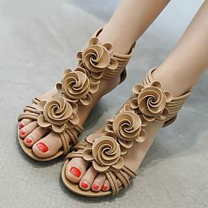 cheap Women's Sandals-Women's Sandals Summer Wedge Heel Open Toe Roman Shoes Daily PU Almond / Black