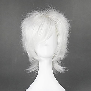 cheap Costume Wigs-Cosplay Costume Wig Cosplay Wig Nate River Death Note Curly Cosplay Layered Haircut With Bangs Wig Short White Synthetic Hair 14 inch Men's Anime Cosplay Best Quality White