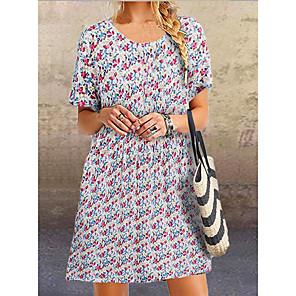 cheap Party Sashes-Women's A-Line Dress Knee Length Dress - Short Sleeve Floral Summer Casual Elegant 2020 Blue Blushing Pink M L XL XXL