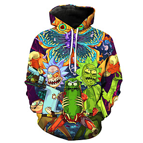 cheap Everyday Cosplay Anime Hoodies & T-Shirts-Inspired by Rick and Morty Cosplay Costume Hoodie Terylene Print Printing Hoodie For Men's / Women's