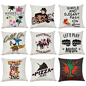 cheap Throw Pillow Covers-9 pcs Linen Pillow Cover, Music Wanderlust Casual Modern Square Traditional Classic