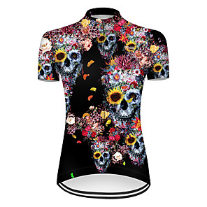 cheap Cycling Jerseys-21Grams Women's Short Sleeve Cycling Jersey Nylon Polyester Black / Yellow Novelty Skull Floral Botanical Bike Jersey Top Mountain Bike MTB Road Bike Cycling Breathable Quick Dry Ultraviolet Resistant