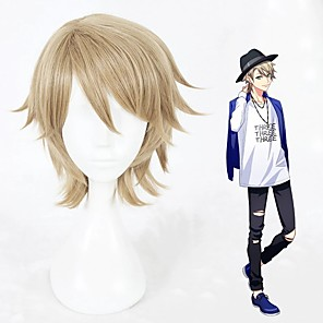 cheap Car Pendants & Ornaments-Cosplay Wig Kazunari Miyoshi Curly Cosplay Halloween With Bangs Wig Short Blonde Synthetic Hair 12 inch Men's Anime Cosplay Designers Blonde