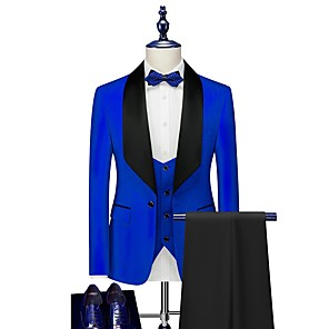 cheap Custom Tuxedo-Tuxedos Tailored Fit Shawl Collar Single Breasted One-button Polyester Jacquard