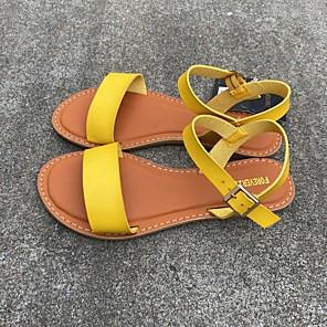 cheap Women's Sandals-Women's Sandals Summer Flat Heel Open Toe Daily PU Almond / Black / Yellow