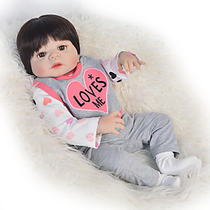 cheap Dolls Accessories-Reborn Baby Dolls Clothes Reborn Doll Accesories Cotton Fabric for 22-24 Inch Reborn Doll Not Include Reborn Doll Heart Soft Pure Handmade Girls' 4 pcs