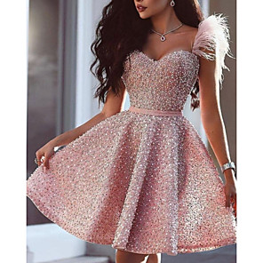 cheap Latin Dancewear-Back To School A-Line Glittering Luxurious Homecoming Cocktail Party Dress Sweetheart Neckline Sleeveless Short / Mini Satin with Beading 2020 Hoco Dress
