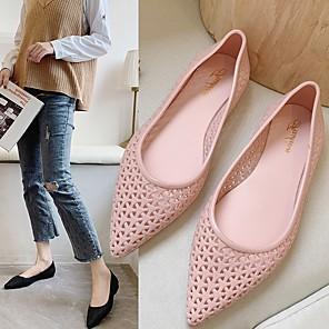 cheap Women's Flats-Women's Sandals / Flats Summer Flat Heel Pointed Toe Daily PU Black / Pink / Blue