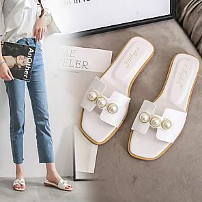 cheap Women's Sandals-Women's Slippers & Flip-Flops Summer Flat Heel Open Toe Daily PU White / Black / Brown