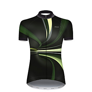 cheap Cycling Jerseys-21Grams Women's Short Sleeve Cycling Jersey Nylon Polyester Black / Green 3D Stripes Gradient Bike Jersey Top Mountain Bike MTB Road Bike Cycling Breathable Quick Dry Ultraviolet Resistant Sports
