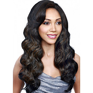 cheap Synthetic Trendy Wigs-Synthetic Wig Curly With Bangs Wig Long Natural Black Synthetic Hair 18 inch Women's Simple Fashionable Design Women Black