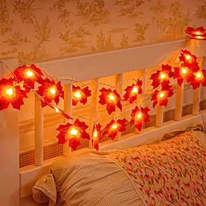 cheap Artificial Plants-3M 20LED Maple Leafs LED String Lights Battery Operated Fairy Light Christmas Wedding Garden Party Family Party Stair Railing Room Decoration Without Battery