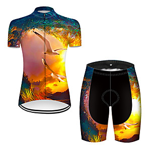 cheap Cycling Jersey & Shorts / Pants Sets-21Grams Women's Short Sleeve Cycling Jersey with Shorts Nylon Polyester Black / Yellow 3D Bird Bike Clothing Suit Breathable 3D Pad Quick Dry Ultraviolet Resistant Reflective Strips Sports 3D