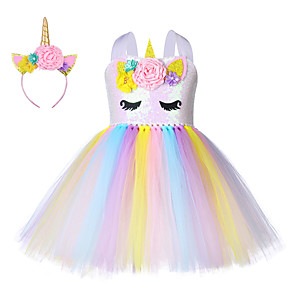 cheap Movie & TV Theme Costumes-Princess Unicorn Outfits Flower Girl Dress Girls' Movie Cosplay A-Line Slip Yellow Dress Headband Children's Day Masquerade Polyester