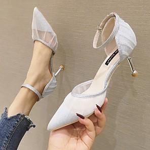 cheap Women's Heels-Women's Heels / Sandals Summer Stiletto Heel Pointed Toe Daily Mesh Black / Champagne / Silver