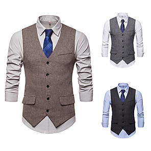 cheap Historical & Vintage Costumes-Gentleman Kingsman Vintage Gothic Steampunk Masquerade Vest Waistcoat Men's Slim Fit Costume Black / Camel / Gray Vintage Cosplay Event / Party Sleeveless