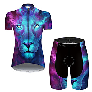 cheap Cycling Jersey & Shorts / Pants Sets-21Grams Women's Short Sleeve Cycling Jersey with Shorts Nylon Polyester Blue Gradient Animal Lion Bike Clothing Suit Breathable 3D Pad Quick Dry Ultraviolet Resistant Reflective Strips Sports Gradient