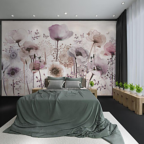 cheap Wallpaper-Custom Self-adhesive Mural Hand Painted Beautiful Purple Flower Suitable for Background Wall Restaurant Bedroom Hotel Wall Decoration Art Wall Cloth Room Wallcovering