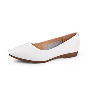 cheap Women's Flats-Women's Flats / Loafers & Slip-Ons Summer Flat Heel Pointed Toe Daily PU Nude / White / Black