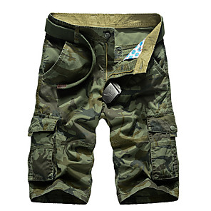 cheap Hiking Trousers & Shorts-Men's Basic Daily Loose Shorts Tactical Cargo Pants Camouflage Summer Army Green Khaki US32 / UK32 / EU40 US36 / UK36 / EU44 US38 / UK38 / EU46