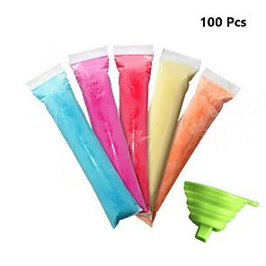 povoljno Sokovnici-100 komada vrećica za kalup od leda za jednokratnu upotrebu sa zip brtvama za zdrave grickalice sok od jogurta& voćni smoothie pops ledeni bomboni