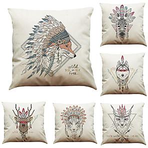 cheap Throw Pillow Covers-6 pcs Linen Pillow Cover Indian  Style Animal Head Linen Pillow Case Bedroom Car Pillow Cushion Sofa Pillow Pillow Office Nap Pillow