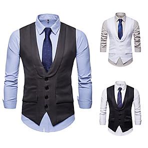cheap Historical & Vintage Costumes-Gentleman Kingsman Vintage Masquerade Vest Waistcoat Men's Slim Fit Costume White / Black / Gray Vintage Cosplay Event / Party Sleeveless