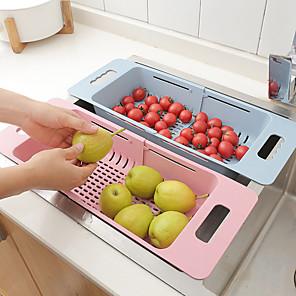 cheap Fruit & Vegetable Tools-Retractable Sink Drain Rack Vegetable Fruit Washing Drain Basket Sink Drain Rack Colanders Strainer Drying Rack Kitchen Storage 1pc
