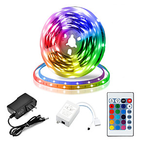 cheap LED Strip Lights-5M LED Strip Lights RGB Tiktok Lights Flexible 300 x 2835 8mm IR 24Key Remote Control Linkable Self-adhesive Color-Changing
