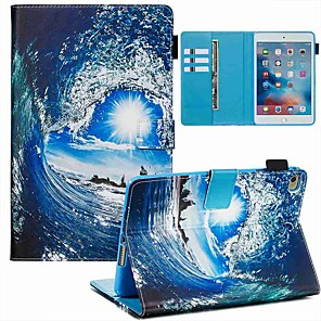 cheap iPad case-Case For Apple iPad Mini 3/2/1 / iPad Mini 4 / iPad Mini 5 Wallet / Card Holder / with Stand Full Body Cases Sea Wave and Sun PU Leather / TPU
