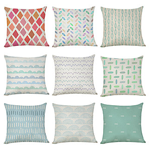 cheap Throw Pillow Covers-9 pcs Linen Pillow Cover, Fresh Summer Geometric Geometic Casual Modern Square Traditional Classic