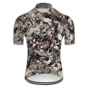 cheap Cycling Jerseys-21Grams Men's Short Sleeve Cycling Jersey Nylon Polyester Grey Novelty Skull Floral Botanical Bike Jersey Top Mountain Bike MTB Road Bike Cycling Breathable Quick Dry Ultraviolet Resistant Sports