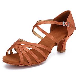 cheap Latin Shoes-Women's Latin Shoes / Salsa Shoes Satin Buckle Heel Buckle Thick Heel Customizable Dance Shoes Black / Brown / Beige
