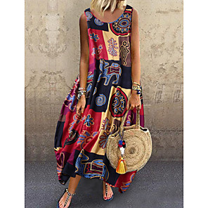 cheap Handbag & Totes-Women's Strap Dress Midi Dress - Sleeveless Print Print Summer Casual Daily 2020 Blue Red Yellow M L XL XXL XXXL XXXXL XXXXXL