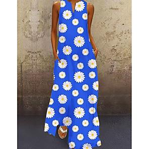 cheap Wall Stickers-Women's A-Line Dress Maxi long Dress - Sleeveless Floral V Neck Loose Blue Green M L XL XXL XXXL XXXXL XXXXXL