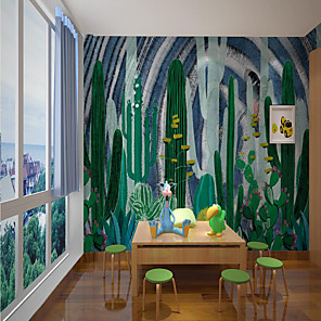 cheap Wallpaper-Custom Self-adhesive Mural Wallpaper Green Cactus Children's Cartoon Style Suitable For Room School Party home decoration