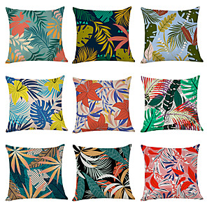 cheap Throw Pillow Covers-9 pcs Linen Pillow Cover, Plants Casual Modern Square Traditional Classic