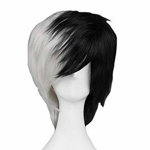 cheap Synthetic Trendy Wigs-Cosplay Costume Wig Cosplay Wig Monokuma Dangan Ronpa Straight Cosplay Asymmetrical With Bangs Wig Short Black / White Synthetic Hair 14 inch Men's Anime Cosplay Cool Mixed Color