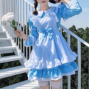 cheap Anime Costumes-Sweet Lolita Princess Lolita Maid Uniforms Maid Suits Male Japanese Cosplay Costumes Black / Pink / Blue Solid Colored Black & White Puff / Balloon Sleeve Long Sleeve Short Sleeve Knee Length / Dress