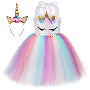 cheap Movie & TV Theme Costumes-Princess Unicorn Outfits Flower Girl Dress Girls' Movie Cosplay A-Line Slip Pink Dress Headband Children's Day Masquerade Polyester