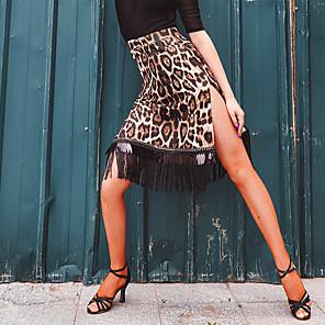 cheap Latin Dancewear-Latin Dance Skirts Tassel Split Joint Women's Training Performance Milk Fiber